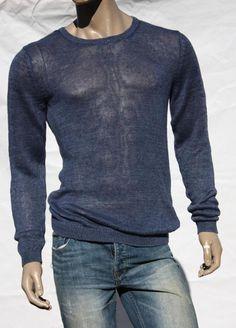 Mens Sweater A/X ARMANI EXCHANGE Sz L Crew Blue Sheer Weight Linen Pullover NWT #ArmaniExchange #Crewneck