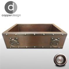 "Copper Apron Farmhouse Kitchen Sink with Rings 33""x22"""