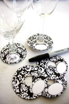 DIY your photo charms, compatible with Pandora bracelets. Make your gifts special. Make your life special! Wine glass tags from scrapbook paper and a sticker for the name tag :) Wine Bottle Tags, Wine Tags, Wine Tasting Party, Wine Parties, Wine Craft, Idee Diy, Wine Glass Charms, Deco Table, Scrapbook Paper