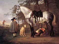 Albert Cuyp - Grijs paard in een landschap