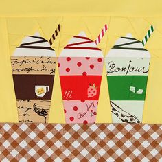 Frappuccino  Block (Coffee, Strawberry, and Green tea) By ayumills