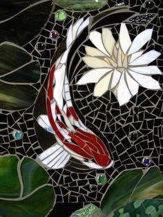 MOSAIC KOI TILE  made to order  indoor/outdoor by ParadiseMosaics, $150.00