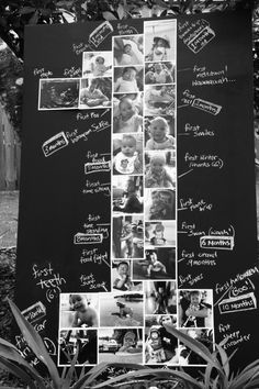 Dette må jeg prøve å lage: DIY '1' shaped photoboard - a great idea to record & display your little one's 'firsts'. 1st Birthday Party decor - Milestones. To recreate: Find some hardboard or plywood, paint in black or chalkboard paint (I used chalkboard paint as I reuse this board quite often). Print your photos in 6x4 with a white border - colour or B&W, follow this '1' shape. Then finish off with your own flavour by telling stories all of your first special moments..