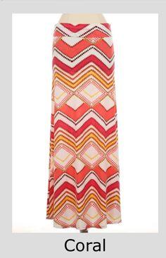 Coral Chevron Maxi Skirt @LynnClothingCo