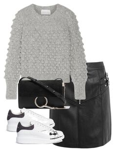 """""""Untitled #4763"""" by theeuropeancloset ❤ liked on Polyvore featuring Topshop, Eleven Six, Chloé and Alexander McQueen"""