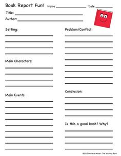 printable book report forms easy book report form for young readers classroom jr. Black Bedroom Furniture Sets. Home Design Ideas