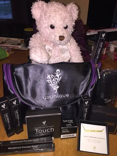 """It's a Beary awesome day at the Hill household. Got a new shipment of Younique products in today and my very own """"Three Little Words"""" necklace. Love every bit of it and Beary does too! Www.alwaysbeautifulyounique.com #Uplift #Empower #Validate #Beary #3Dlashes #3dfiberlash #lips #lipstain #lipgloss #beauty #makeup #makeupmagic #makeuplove #magicmascara #mascara #mascaralove #splurge #mineralpowder #creamshadow #threelittlewords"""