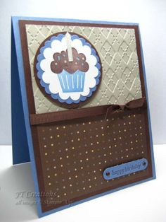 handmade card ... Happy Birthday ... masculine look ... cupcake on layered paper medallion ... brown, ivory & blue ...