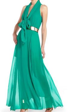"100%+AUTHENTICITY+GUARANTEED!  BCBG+MAXAZRIA++  Shelby+Sleeveless+Chiffon+Gown+Emerald  SIZE+XXS  V-neck.+Sleeveless.+Relaxed+fit. Tie+detail+at+neckline.+Elastic+at+waist.+Side+slit+at+skirt. Keyhole+at+back+with+hook-and-eye+closure.+Measures+approximately+58.25""+from+shoulder+to+hem...."