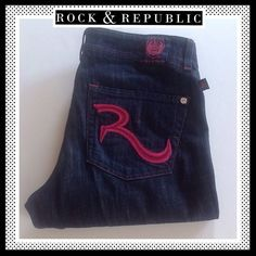 ROCK & REPUBLIC Flare Jeans w/ Hot Pink Stitching ROCK & REPUBLIC Flare Jeans w/ Hot Pink Stitching Rock & Republic Jeans Flare & Wide Leg