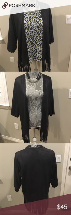 Black Fringe Cardigan This black fringe cardigan is perfect with any outfit. It comes in one size and so if you wear a small, medium, large, or x-large you should be able to fit into this cardigan. It is 88% polyester and 12% spandex. Necklace not for sale. Bundle with any other outfit in my closet to save money! Let me know if you're interested! Express Sweaters Cardigans