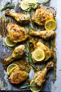 Roasted Lemon Rosemary Chicken - the best tasting oven baked chicken with few simple ingredients | littlebroken.com @littlebroken