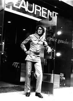 Yves Saint Laurent outside his store in 1969