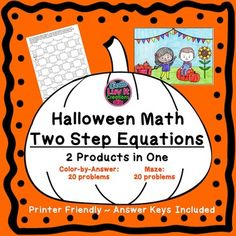 Halloween/Fall Math Two Step Equations. This product includes 2 products in one: Maze 20 problems & Color-by-Answer 20 problems. Answer Keys Included, No prep, just print! Math Resources, Math Activities, Holiday Activities, Simplifying Expressions, Two Step Equations, Combining Like Terms, Common Factors, Distributive Property, Halloween Math