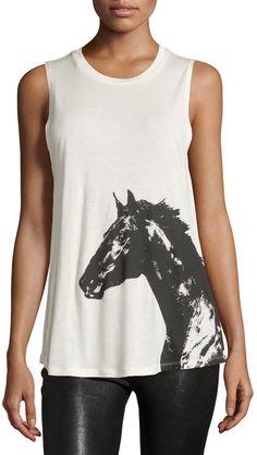 Haute Hippie Horse-Print Muscle Tee, Swan/Black