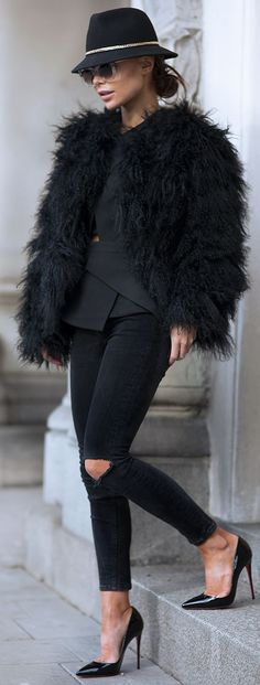Black street style chic. Let us captivate your senses at Lou Lou & Percy with our luxurious on trend affordable fashion jewellery. www.loulouandpercy.com