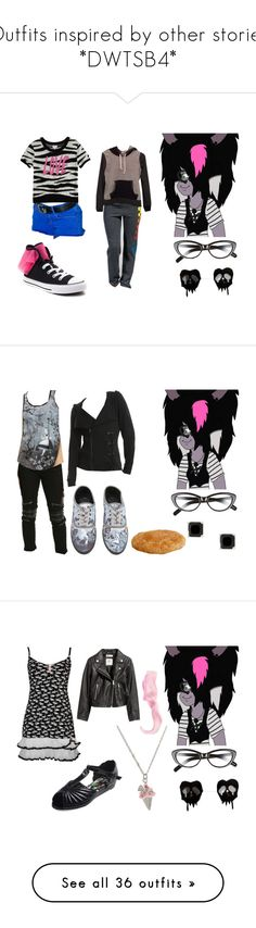 """""""Outfits inspired by other stories *DWTSB4*"""" by brainyxbat ❤ liked on Polyvore featuring Elizabeth and James, Siwy, Converse, Aviator Nation, Tripp, Hot Topic, Disney, Betsey Johnson, Iron Fist and H&M"""