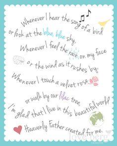 PRINTABLE poster My Heavenly Father Loves Me nursery song -- PDF digital file. via Etsy.