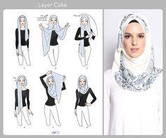 Layer Cake hijab tutorial by duckscarves.