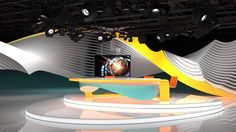 tv studio 3d free broadcast programm program camera design future styled cubic interior virtual wave glow