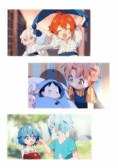 Tenn and Riku/ Iori and Mitsuki/ Tamaki and Mia Cute siblings ♡ Anime Siblings, Anime Child, Kawaii Chibi, Kawaii Anime, Cute Anime Boy, Anime Guys, Anime Music, Anime Art, Familia Anime