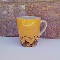 Yellow Mug Henna Design Henna Mug Hand by AlanaKruseCreations, $10.00