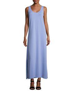 Pique Knit Long Tank Dress, Lavender, Plus Size
