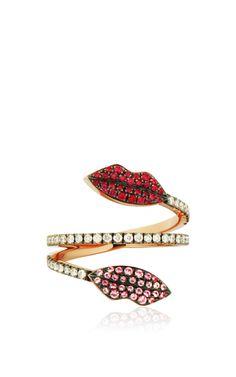 Marry Me Double Lips Ring by DELFINA DELETTREZ for Preorder on Moda Operandi