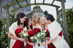 Bridesmaids-Red-Winter-Wedding-Kildar