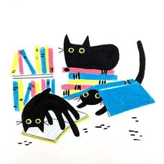 """Three cats walked into a library and said: """"Can we check these meowt?"""" • • Happy World Book Day! — #worldbookday #books #kidlit #childrensbooks #booksforyoungreaders #literacymatters #picturebooks #blackcatsrule #elgato #lechatnoir #lechat #catscatscats #books #illustration #illustracion #librarycat"""