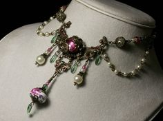 Pink Green Crystal Pearl Antiqued Bronze Filigree Choker Necklace Steampunk Jewelry Antique Vintage Victorian Bridal Style China Tea Rose