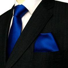 Marc-Philippe Handmade Silk Tie and Matching Hanky Cobalt Blue Plain Smooth Luxury Wedding Set: Amazon.co.uk: Clothing