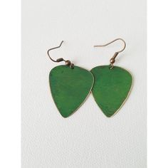 Antiqued Copper Patina Guitar Pick Earrings Emerald Green Patina... ($16) ❤ liked on Polyvore featuring jewelry and earrings