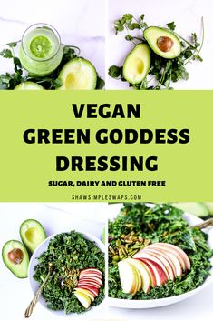 This Vegan Green Goddess Dressing is the perfect dressing to serve on top of salads, sandwiches and veggies! It's a great way to enjoy a no added sugar, healthy dressing made from the comfort of your own home! Healthy Dips, Healthy Gluten Free Recipes, Vegetarian Recipes, Vegan Plate, Fresh Salad Recipes, Green Goddess Dressing, Salad Topping, Kitchen Recipes, Food Inspiration