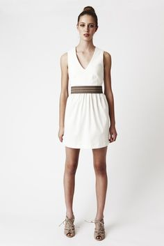 SALE - 25% OFF - White Pout Dress - Vee-neck, waist gathers with a full skirt. Above knee.