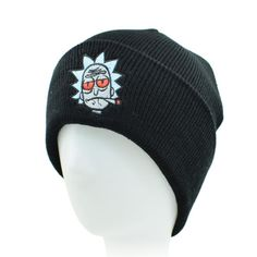 CLIMATE Rick And Morty Men Beanies Winter Warm Knitted Hat HipHop Black Hat  For Adult Men 6b8ebb726e23