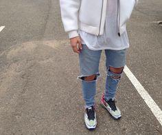 princeinjeans: Lanoir Blue Ripped Denim with Neoprene Bomber and Raf Simons Adidas Sneakers Lanoir Blue Ripped Denims on Order at NicolasLauer57@hotmail.fr - Nicolas Lauer c/o LANOIR