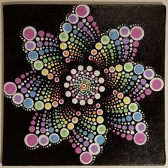 Pastel dot mandala on black canvas-artist unknown Dot Art Painting, Mandala Painting, Painting Patterns, Stone Painting, Mandala Stencils, Painting Tools, Mandala Painted Rocks, Mandala Rocks, Painted Stones