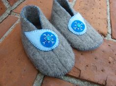 Eco Repurposed Wool Blue Felt Toddler Shoes by olivegiggles, $20.00
