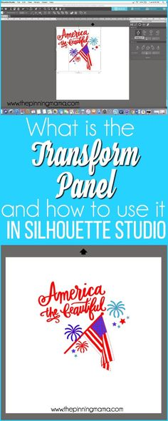to use the Transform Panel in Silhouette Studio. {Silhouette Bootcamp Lesson (The Pinning Mama) How to use the Transform Panel in Silhouette Studio. {Silhouette Bootcamp Lesson to use the Transform Panel in Silhouette Studio. Silhouette Cameo Vinyl, Silhouette Cameo Tutorials, Silhouette School, Silhouette Curio, Silhouette Portrait, Silhouette Projects, Silhouette Machine, Crafts For Teens To Make, Diy And Crafts