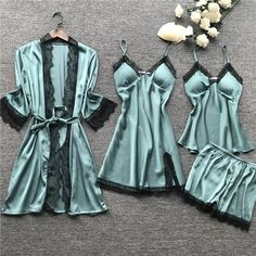 Lace Sleepwear With Chest Pad Nightdress Short Cardigan Set Pajamas | La Boutique Dacula
