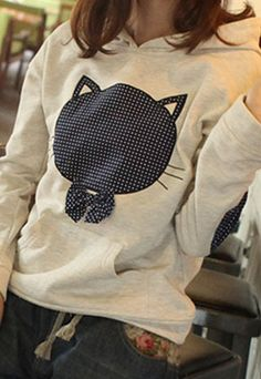 """$29.99 Sweet Cute Patch Cat Pattern Hooded Sweatshirt Style: Sweet/ Cute   Feature: Patched Cat Pattern/Hooded   Material: Cotton Blends  Size: One Size: Bust: 92CM(36.22""""  )   Sleeve Length: 62CM(24.41"""" ) Length: 56CM(22.05"""" )   Weight: 0.44KG  Color: As Picture  This sweatshirt features the patch design. The cute and sweet cat pattern ..."""