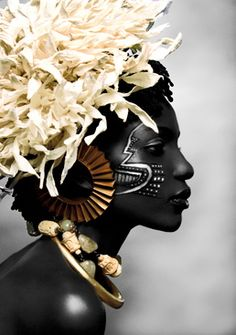 Corn Husk Headdress?::Face Paint and Jewelry Embellishments. Now, This is Gorgeous Ebony skin!