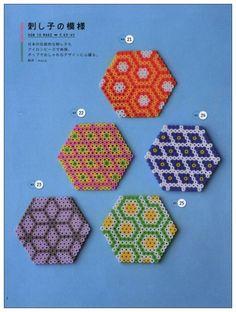 Hexagon designs perler beads