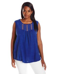 Lucky Brand Women's Plus-Size Washed Knit Top In Blue >>> Awesome product. Click the image : Plus size shirts