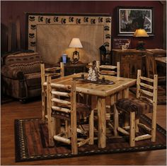 This beautiful log dining room table sets the mood for those hearty northwoods meals. Start building your northwoods dining room with this cedar log table and log dining chairs. Log Table, Pub Table Sets, Dining Table Chairs, Dining Set, Dream Furniture, Log Furniture, Dining Room Furniture, Cedar Table, Cedar Log