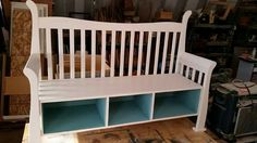 Crib bench with storage.  Find me on facebook.