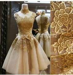 Custom Made Free Shipping Elegant Sexy High Neck Lace Party Dresses Knee-Length Ball Gown Evening Gowns 2014 New Arrival $145.00