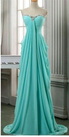 Long Pleated Chiffon Prom Dress,A Line Sweeetheart Prom Dress,baby Blue Chiffon Long Prom Dresses,formal Evening Dress,long Homecoming Dress - Formal Dresses 😍 Simple Evening Gown, Evening Dress Long, Formal Evening Dresses, Evening Gowns, Dress Formal, Evening Party, Formal Wear, Simple Homecoming Dresses, A Line Prom Dresses