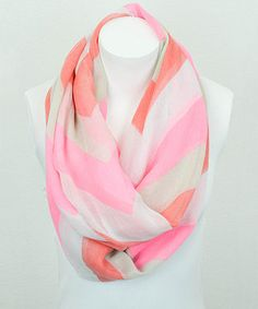 Look what I found on #zulily! Pink & Coral Large Zigzag Infinity Scarf by Leto Collection #zulilyfinds